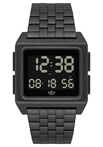 adidas Watches Archive_M1. Men's 70's Style Stainless Steel Digital Watch with 5 Link Bracelet (All Black. 36 mm). ()