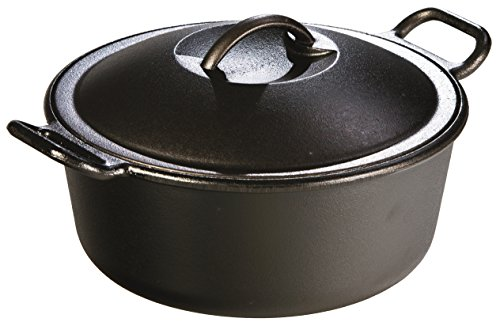 - Lodge Pro-Logic 4 Quart Cast Iron Dutch Oven. Pre-Seasoned Pot with Self-Basting Lid and Easy Grip Handles