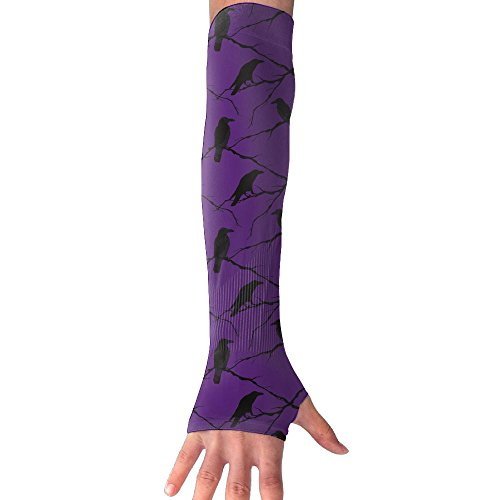 Adult Ravens Tree Branches Crow Pattern Arm Sleeves Arm Warmer Long Sleeve Glove 1 Pair - 2 Sleeves For Football Baseball Basketball Cycling Tennis (Foot 4 1 Inch Crow 1)