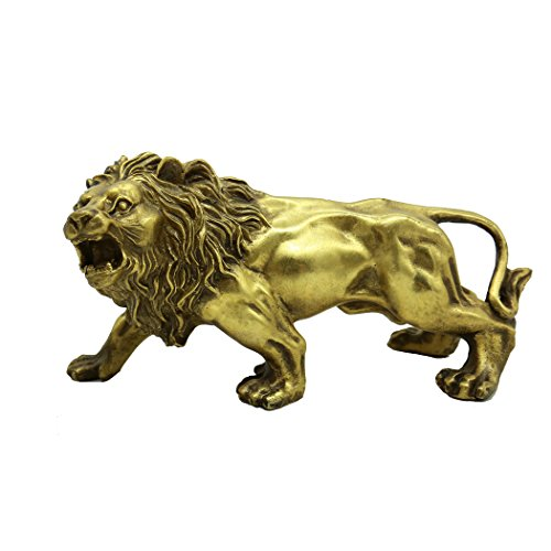 Chinese Fengshui Handmade Brass Magical and Noble Lion Statue Home Decor Housewarming Gift - Chinese Lion Statues