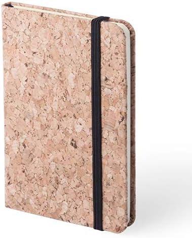 DISOK - Bloc de Notas Corcho Natural 100% - 80 Hojas - Libretas, libretitas originales y baratas, handmade, kraft para Detalles, Regalos y Recuerdos de Bodas, Bautizos, Comuniones