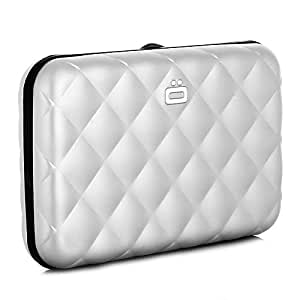 Ogon Quilted Button ID & Card Case Aluminium Wallet for Women | Rfid Safe (Silver)