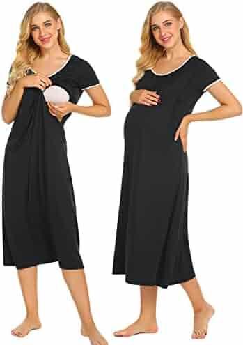 e77959ee02a Ekouaer Nursing Nightgown Women s Short Sleeve Long Maternity Sleepwear for  Breastfeeding S-XXL