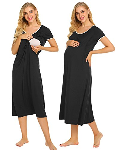 Ekouaer Plus Size Nursing Nightgown Women's Short Sleeve Sleepwear Casual Lounge Maternity Gowns (Black,XXL)