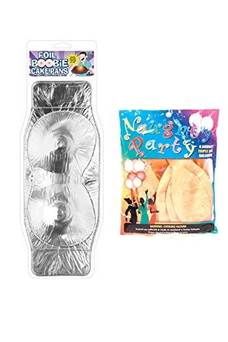 Angelique Groom Bachelor Wedding Party Decorations Supplies Kit- Foil Boob Cake Pans and Naughty Boobie Party Balloons