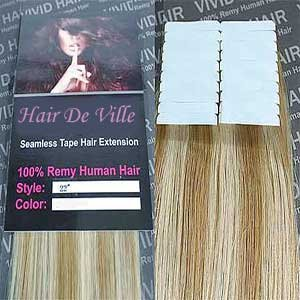 20 Pcs X 22″ Inches Hair De Ville Remy Seamless Tape Skin Weft Human Hair Extensions Color 8C/11C Blonde Mix For Sale