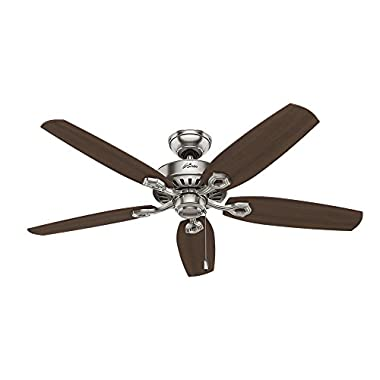 Hunter 53241 Builder Elite 52-inch  Brushed Nickel Ceiling Fan with Five Brazilian Cherry/Harvest Mahogany Blades