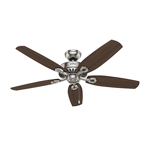 Hunter 53241 Builder Elite 52-inch Brushed Nickel Ceiling Fan with Five Brazilian Cherry/Harvest Mahogany Blades by Hunter Fan Company