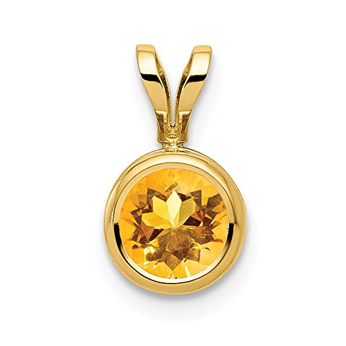 14k Yellow Gold 6mm Citrine Bezel Pendant Charm Necklace Gemstone Fine Jewelry Gifts For Women For Her