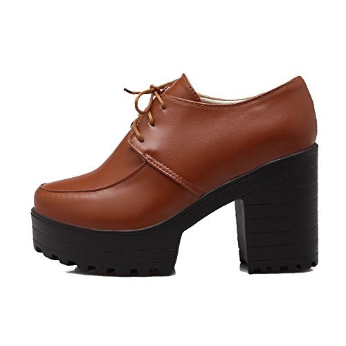 Talons Hauts Chaussures À Solide Pu Jaune Bout À 37 Rond Femmes Pompes Lacets Odomolor dSwqHdp