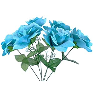 2 Bushes Open Rose Artificial Silk Flowers Bouquet 6-7203 Teal Blue 41