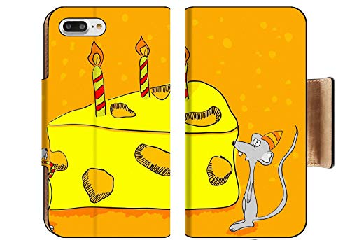 Liili Premium Apple iPhone 8 Plus Flip Pu Wallet Case Hand Drawn Greeting Card Funny mouses and Cheesecake Image ID 8712918