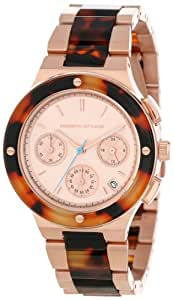 Kenneth Jay Lane Women's KJLANE-2110  Chronograph Rose Dial Rose Gold Ion-Plated Stainless Steel and Brown Tortoise Resin Watch