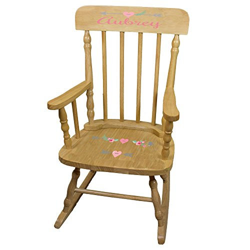 Natural Wood Chair Arrow (Personalized Girl Tribal Arrows Wooden Childrens Rocking Chair)