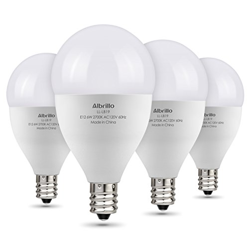 E12 LED Bulb 60W Equivalent - Albrillo 6W LED Candelabra Bulb, Warm White 2700K Decorative G14 Globe Light Bulbs for Ceiling Fan, Non Dimmable 4 Pack