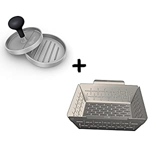 Burger Press + Vegetable Grill Basket - DISHWASHER SAFE STAINLESS STEEL - Large Non Stick BBQ Grid Pan For Veggies Meat Fish Shrimp & Fruit - Best Barbecue Wok Topper Accessories Gift for Dad