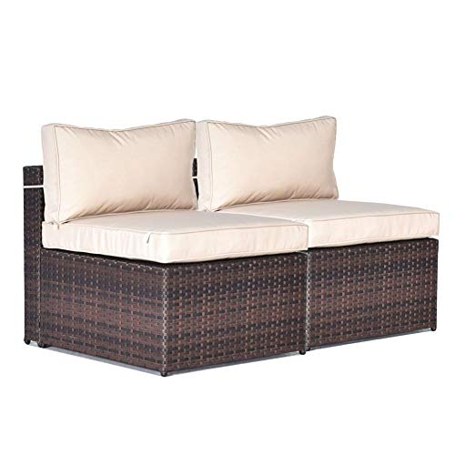 Gotland 2 Piece Outdoor Rattan Sectional Sofa Patio Wicker Furniture Set,with PE Wicker Weather Cushions 2 Middle Sofas