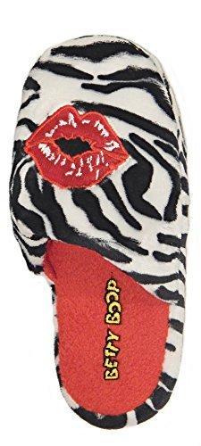 Betty Boop Love - Betty Boop Ultra-Soft Women's Plush Pinup Scuffs Cozy Non-Skid Slippers - Great for Gifts (Medium, Zebra)