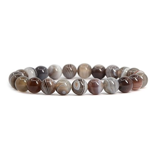 Natural Botswana Agate Gemstone 8mm Round Beads Stretch Bracelet 7