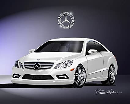 2010 MERCEDES BENZ E550 COUPE Diamond White Metallic   CAR ART PRINT  POSTER  SIZE 14x18