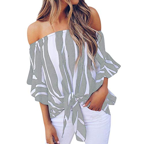 TOTOD Women Striped Off Shoulder Waist Tie Blouse Loose Short Sleeve Casual T Shirts S- 4XL Plus Size Tops Gray