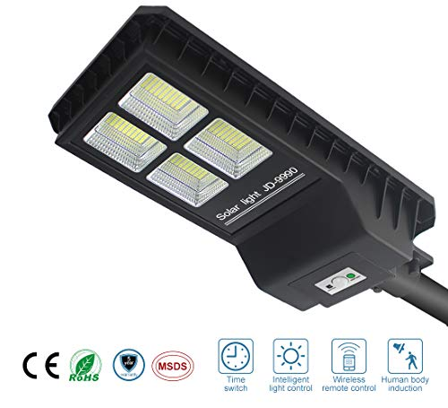 90W Intelligent Solar Street Lights Dusk to Dawn 7000Lumens 432 LEDs Ultra Bright Night PIR Motion Sensor Wireless Waterproof IP65 Area Security Outdoor Commercial Lighting for Gutter Garden Path