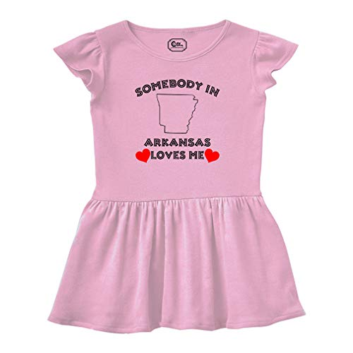 - Somebody in Arkansas Loves Me Short Sleeve Taped Neck Girl Cotton Toddler Rib Dress School Clothes - Soft Pink, 2T