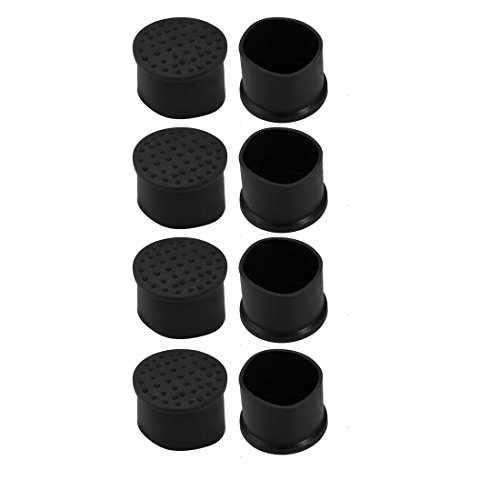 uxcell 8pcs 42mm Dia Black PVC Rubber Round Cabinet Chair Leg Floor Insert Cover Protector by uxcell