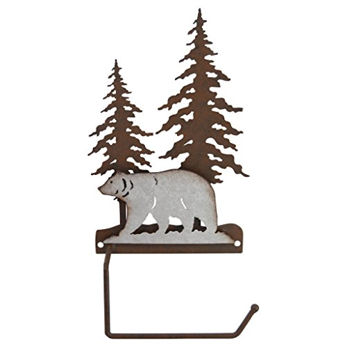 Tuscan 3 Light Bathroom Fixture (Pine Ridge 3-D Bear Scene Metal Toilet Paper Roll Holder - Western Decorative Wall Mount Tissue Holder For Toilet and Bathroom)