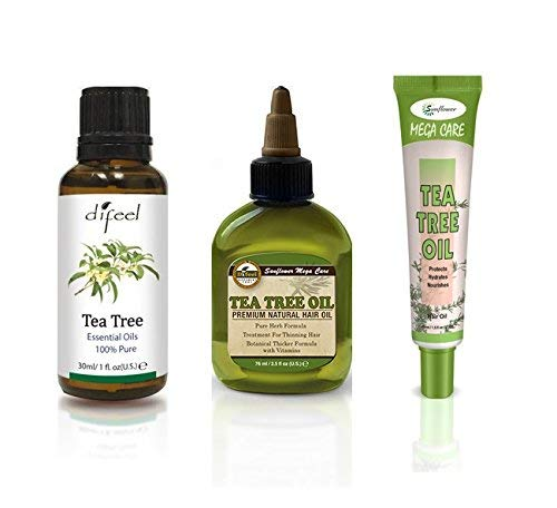 (Difeel Hair & Essential Oil - Tea Tree Oil 3 Piece Set - Prevents Itchy & Dry Scalp, Anti-dandruff & Antifungal, for Thinning Hair, Irritated & Oily Skin)