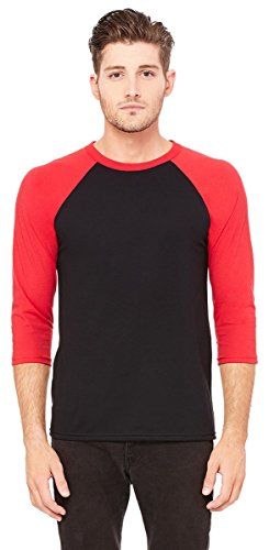 Heritage Jersey T-shirt - Bella + Canvas Unisex Jersey 3/4 Sleeve Baseball Tee, Black/Red, Medium