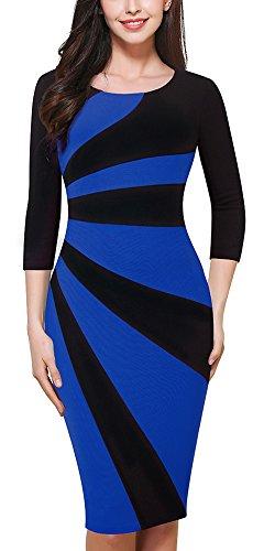 HOMEYEE Mujer Vintage cuello redondo mangas 3/4 colorblock patchwork desgaste de trabajo lápiz vestido B390 Azul