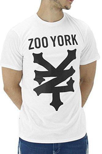 Zoo York Hombre Raglán Verano Algodón Estampado Gráfico Camisetas - Blanco, Small