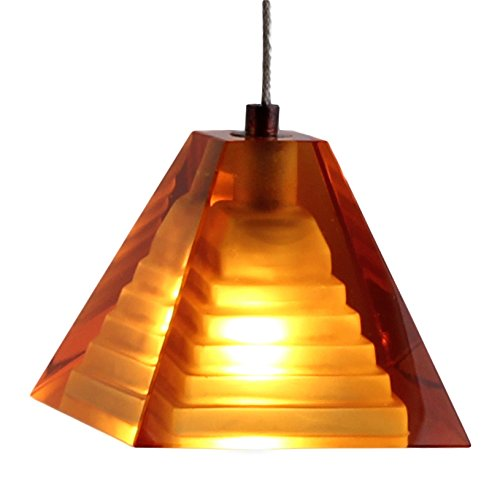 Direct-Lighting Pyramid Shaped Mini Pendant Light Fixture, Amber Colored Glass, Ready To Install, DPNL-36-6-AMBER (Lights Colored Pendant Mini)