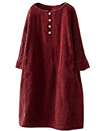 SNOWSONG Women's Corduroy Button Dresses Swing Long Sleeve Fall Dress with Pockets