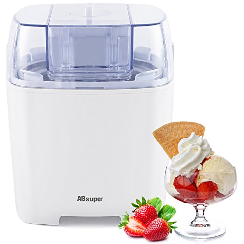 Ice Cream Maker, ABsuper 1.5 Quart Ice Cream Machine Sorbet Gelato Maker Frozen Yogurt Machine for Home with Ice Cream Freezer (White Transparent Refrigerator)