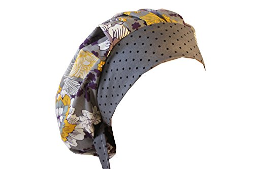 Gray Scrub Cap - Scrub Hat Chemo Cap Bouffant Style MANY Color Options Available (grey purple floral)