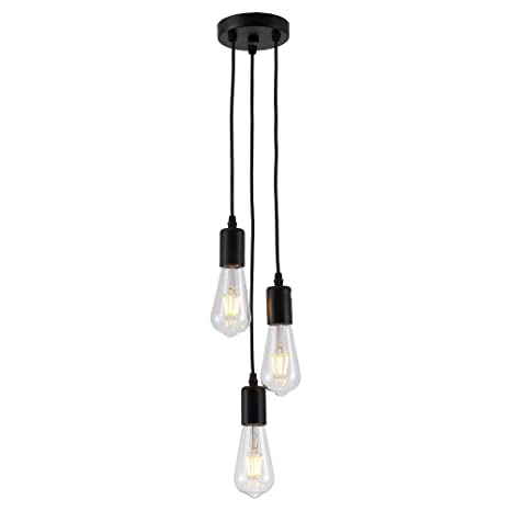 HJXDtechAraña industrial vintage con 3-portalámparas Lámpara de techo colgante de luz Cluster Colocación de la lámpara de la suspensión del zócalo E27 ...