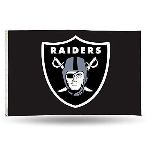Flag Nfl Pole - NFL Oakland Raiders 3-Foot by 5-Foot Single Sided Banner Flag with Grommets
