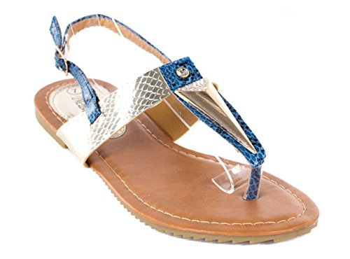 Victoria K Women Thong Sandals, Open Toes Blue Snakeskin Design Flats, (Snakeskin Thong Sandals)