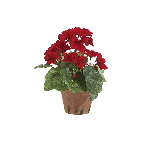 9 Inch High Potted Red Geranium In Pot (Pot Cotta Terra Artificial)