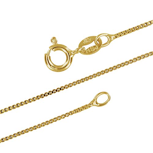 - 14kt Yellow Gold Plated Sterling Silver 1mm Box Chain Necklace Solid Italian Nickel-Free, 26 Inch