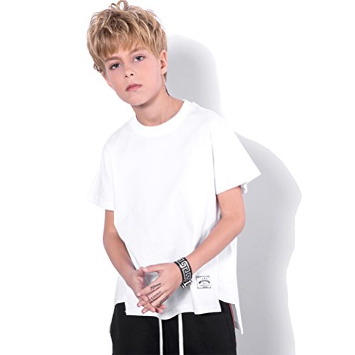 White T Shirts,Boys Girls Cotton White Shirts Kids Tshirt Unisex T-Shirt Short Sleeve Clothes Children Solid Color Top Tee Crewneck Youth La T Shirts Clothing,3/4 Years Old