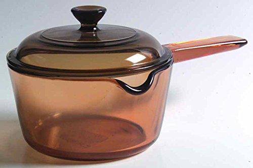 - Vintage Corning Ware Pyrex VISION Visions Visionware AMBER ALL GLASS 1 Quart / 1 Litre 6