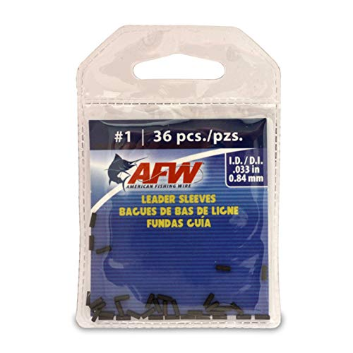 (American Fishing Wire Single Barrel Crimp Sleeves, Black Color, Size 1, 0.033 -Inch Inside Diameter,)