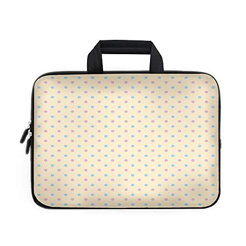(Polka Dots Laptop Carrying Bag Sleeve,Neoprene Sleeve Case/Retro Polka Dots Small Coin Sized Little Spots Old Epochs Fashion Pattern/for Apple MacBook Air Samsung Google Acer HP DELL Lenovo)