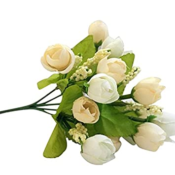MIRRAY 15 Cabezas Artificiales de Seda Rosa Flor de Falsa Hoja Decoración para el Hogar Ramo de Novia Blanco: Amazon.es: Hogar