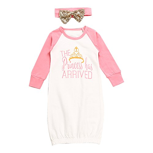 The Princess Has Arrived Baby Girl Night Gowns with Sequins Bowknot Headband (0-6M)