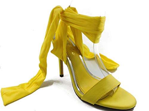 Liliana Women's Gladiator Ankle Strap Lace up High Heels Open Toe Stiletto Sexy Heeled Strappy Sandals (8
