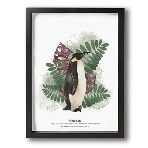 (RUIZI Painting Canvas Personalized DIY Oil Painting,Art Picture Decor Artwork,Modern Framed Painting 12x16 Inch Wooden Frame Wall Landscape Green Plants and Penguin)